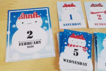 2月の雪だるま日付シート02