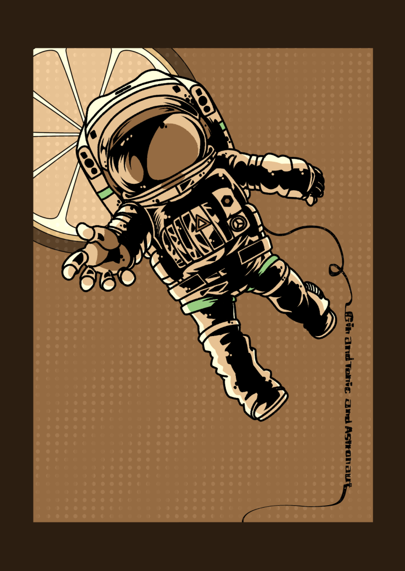 宇宙飛行士とジンのイラスト